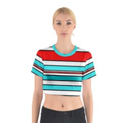 Blue, red, and white lines Cotton Crop Top
