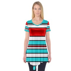 Blue, red, and white lines Short Sleeve Tunic