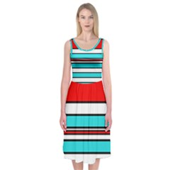 Blue, red, and white lines Midi Sleeveless Dress
