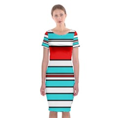 Blue, red, and white lines Classic Short Sleeve Midi Dress