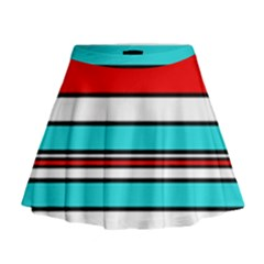 Blue, red, and white lines Mini Flare Skirt