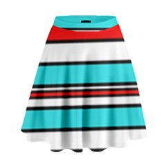 Blue, Red, And White Lines High Waist Skirt
