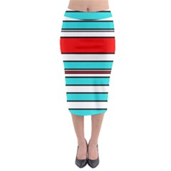 Blue, red, and white lines Midi Pencil Skirt
