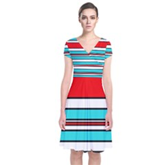 Blue, red, and white lines Short Sleeve Front Wrap Dress