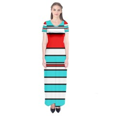 Blue, Red, And White Lines Short Sleeve Maxi Dress