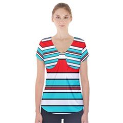 Blue, red, and white lines Short Sleeve Front Detail Top