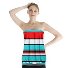 Blue, Red, And White Lines Strapless Top