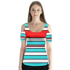 Blue, red, and white lines Butterfly Sleeve Cutout Tee
