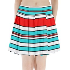 Blue, red, and white lines Pleated Mini Mesh Skirt
