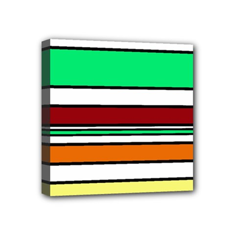 Green, orange and yellow lines Mini Canvas 4  x 4