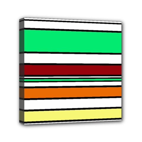 Green, orange and yellow lines Mini Canvas 6  x 6