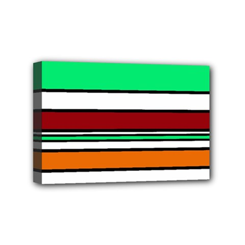 Green, Orange And Yellow Lines Mini Canvas 6  X 4