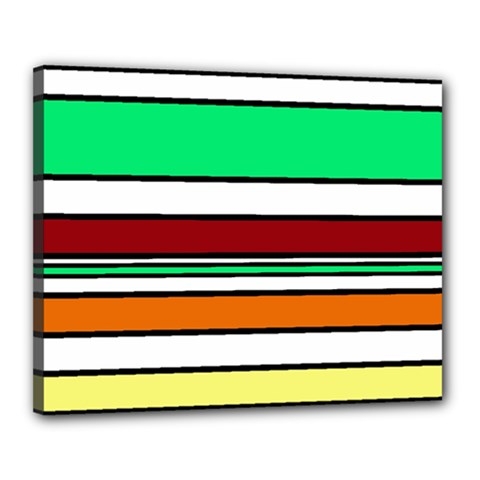 Green, orange and yellow lines Canvas 20  x 16