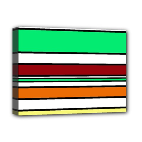 Green, orange and yellow lines Deluxe Canvas 16  x 12