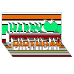 Green, orange and yellow lines Happy Birthday 3D Greeting Card (8x4)