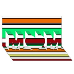 Green, orange and yellow lines MOM 3D Greeting Card (8x4)