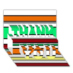 Green, orange and yellow lines THANK YOU 3D Greeting Card (7x5)