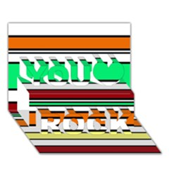 Green, orange and yellow lines You Rock 3D Greeting Card (7x5)