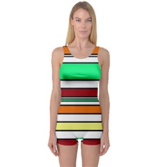 Green, orange and yellow lines One Piece Boyleg Swimsuit