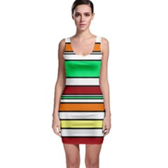 Green, orange and yellow lines Sleeveless Bodycon Dress