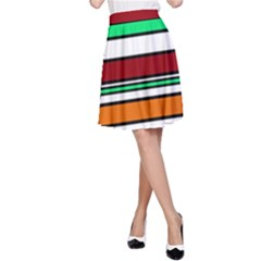 Green, orange and yellow lines A-Line Skirt