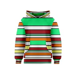 Green, orange and yellow lines Kids  Pullover Hoodie