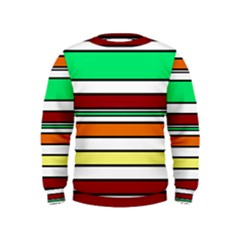 Green, orange and yellow lines Kids  Sweatshirt