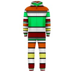 Green, orange and yellow lines Hooded Jumpsuit (Men)