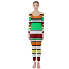 Green, orange and yellow lines Long Sleeve Catsuit