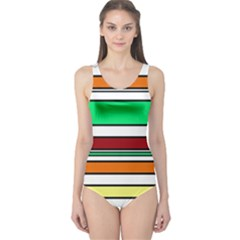 Green, orange and yellow lines One Piece Swimsuit