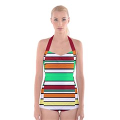Green, orange and yellow lines Boyleg Halter Swimsuit