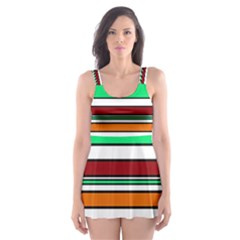 Green, orange and yellow lines Skater Dress Swimsuit
