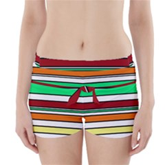 Green, orange and yellow lines Boyleg Bikini Wrap Bottoms