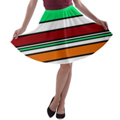 Green, orange and yellow lines A-line Skater Skirt