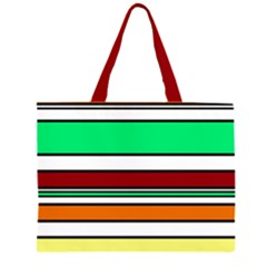 Green, orange and yellow lines Zipper Large Tote Bag