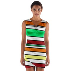 Green, orange and yellow lines Wrap Front Bodycon Dress