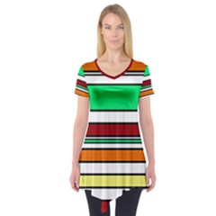 Green, orange and yellow lines Short Sleeve Tunic