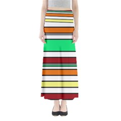 Green, orange and yellow lines Maxi Skirts