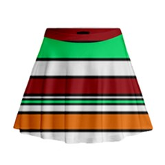 Green, orange and yellow lines Mini Flare Skirt