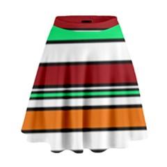Green, Orange And Yellow Lines High Waist Skirt