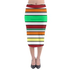 Green, orange and yellow lines Midi Pencil Skirt