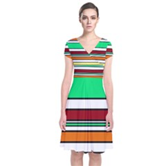 Green, orange and yellow lines Short Sleeve Front Wrap Dress