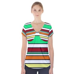 Green, Orange And Yellow Lines Short Sleeve Front Detail Top