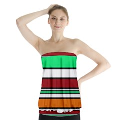 Green, orange and yellow lines Strapless Top
