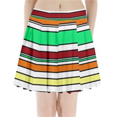 Green, Orange And Yellow Lines Pleated Mini Mesh Skirt
