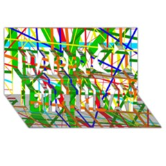 Colorful lines Happy Birthday 3D Greeting Card (8x4)