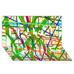 Colorful lines Best Wish 3D Greeting Card (8x4)