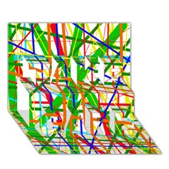 Colorful lines TAKE CARE 3D Greeting Card (7x5)