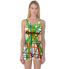 Colorful lines One Piece Boyleg Swimsuit