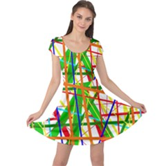 Colorful lines Cap Sleeve Dresses